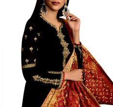 Black Satin Georgette Heavy Work Salwar Kameez SuitWith Banarsi Silk Dupatta