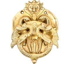 Golden Brass Bat Head With Peacock Statues On The Knocker Ring