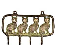 Four Sitting Cats In A Row Framed Wall mounted Wall Hook