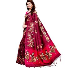 Wine Color Kathak Women's Khadi Silk Printed Saree With Blouse Piece