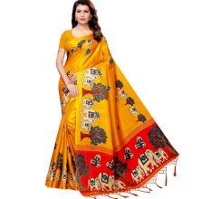 Yellow BaraatCasual Khadi Silk Printed Kalamkari Saree With Blouse Piece Tessle