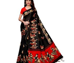 Black Kathak  Women's Khadi Silk Printed Saree With Blouse Piece