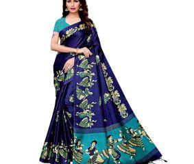 Navy Blue Kathak Women's Khadi Silk Printed Saree With Blouse Piece