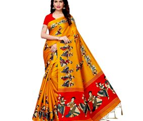 Yellow Kathak Women's Khadi Silk Printed Saree With Blouse Piece