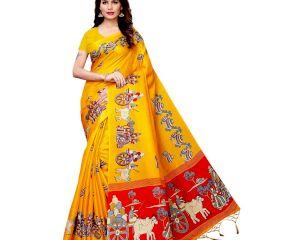 Yellow Bullock Cart Village Scene Women's Khadi Silk Printed Saree With Blouse Piece