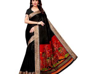 Black Khadi Silk Printed Kalamkari Saree With Tessle And Blouse Piece