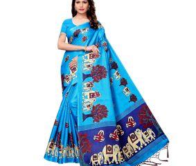 Blue BaraatCasual Khadi Silk Printed Kalamkari Saree With Blouse Piece Tessle