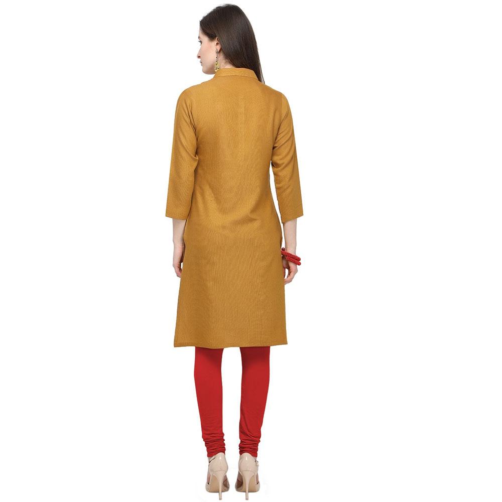 Mustard Yellow Office Wear Stiched Rayon Kurti with Beautiful Embroidery Work