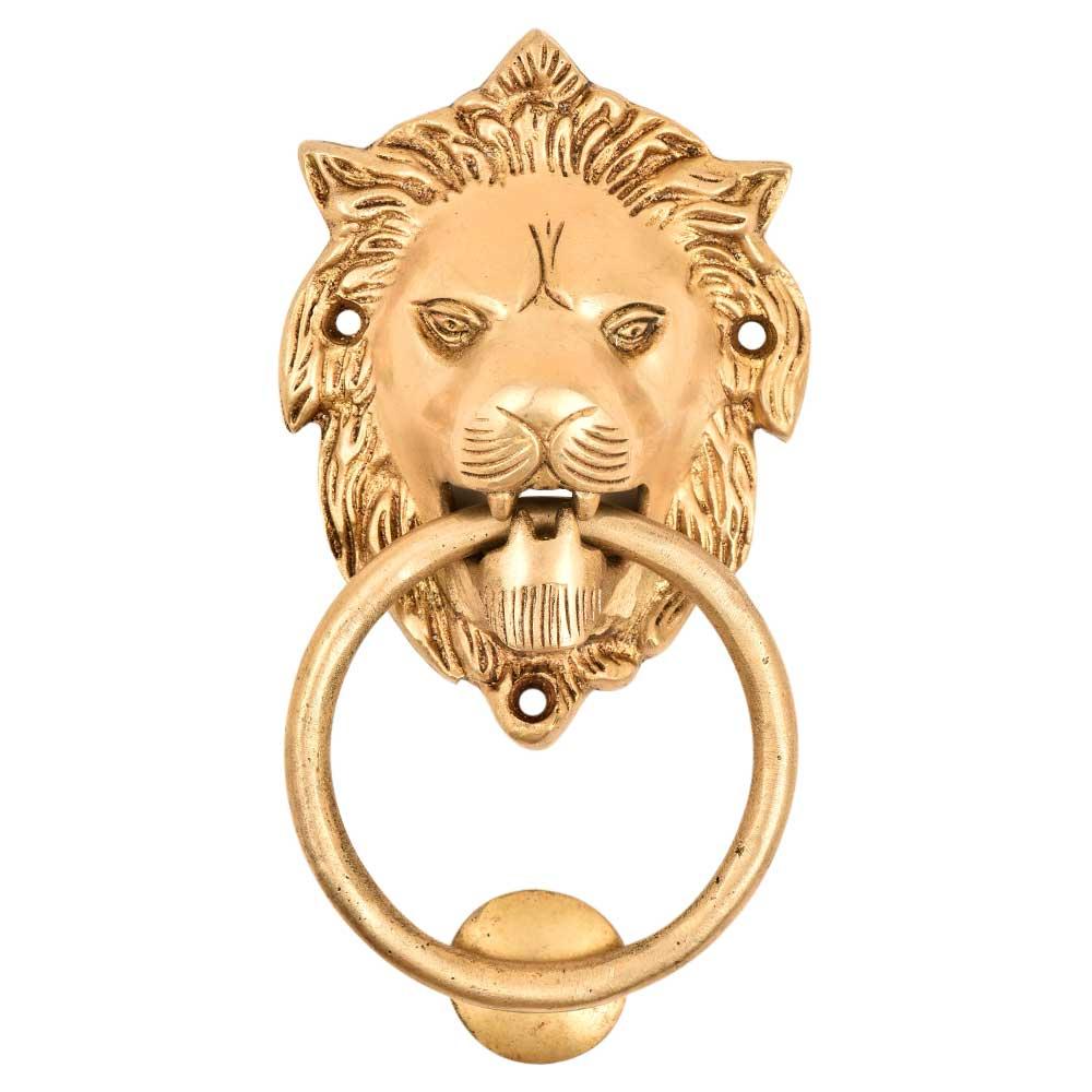 Golden Lion Door Knocker Antique Vintage Style Handmade Brass Door Knocker Knob