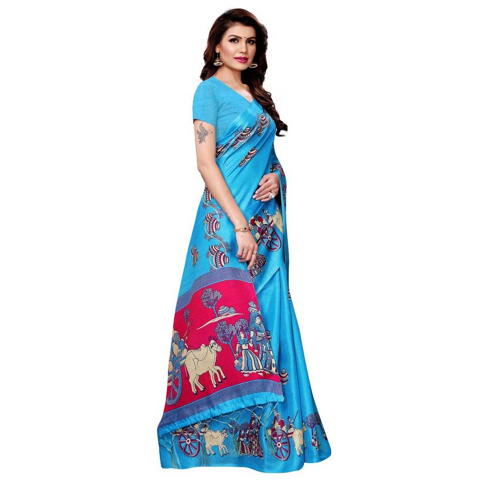 Blue Bullock Cart Village Scene Women's Khadi Silk Printed Saree With Blouse Piece