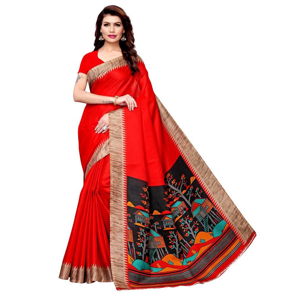 Red Khadi Silk Printed Kalamkari Saree With Tessle And Blouse Piece