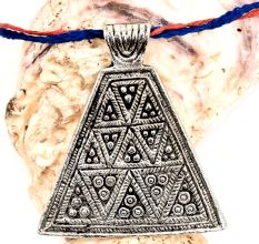 Handmade Silver Aluminum Metal Triangle Pyramid Naga Tribal Pendant Necklace