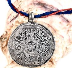 Round Engraved Floral Design Silver Aluminum Metal  Tribal Pendant Necklace