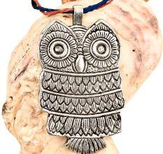 Petite Owl Pendant Silver Aluminum Metal Owl Night Bird