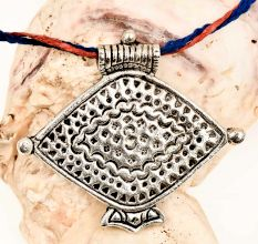 Unique Tribal Fish Design Engraved Silver Aluminum Pendant Necklace