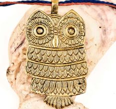 Petite Owl Pendant Golden Aluminum Metal Owl Night Bird