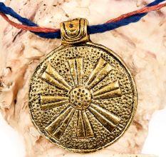 Round Tribal Embossed Big Floral Design Golden Aluminum Pendant Necklace