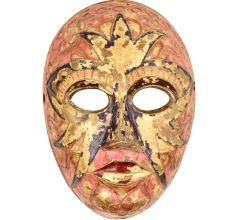Multicolored Brass Solid Brass Face Theater Mask Wall Hanging