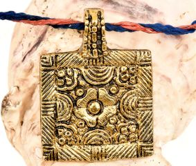 Golden Aluminum Metal  Pendant Square Shape With Flower Carved