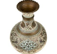 Decorative Floral Design Enameled Brass vase