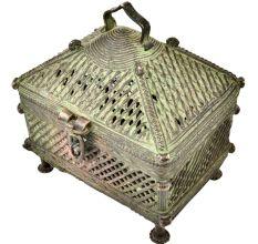 Tribal Jali Hut Brass Jewellery Box
