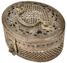 Brass Oval Jalli Box With Fold Down Handle
