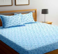 Blue Bombay Dyeing Axia 120 TC Cotton Double Bedsheet with 2 Pillow Covers