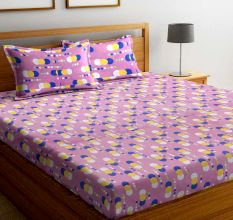Light Purple Geometric 104 TC Cotton 1 Queen Bedsheet with 2 Pillow Covers
