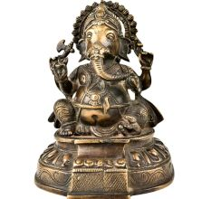 Brass Lord Ganesha Seated On A Raised Lotus Seat