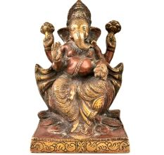 Sitting Brass Ganesha Statue On Lotus Lord  With Copper Finish
