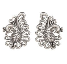 92.5 Sterling Silver Dancing Peacock Studs For Women And Girls