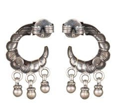 92.5 Sterling  Silver Crescent Moon Peacock Earrings