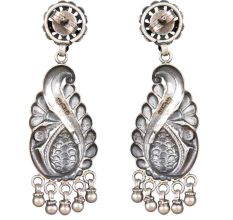 92.5 Sterling Silver Mayur Peacock Motif With Ghungroos Earrings For Girls