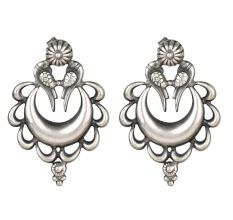 92.5 Sterling Silver Peacock Crescent Moon Ethnic Stud Earrings