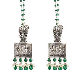 92.5 Sterling Silver Earrings Ganesh And Laxmi Engraved Hangings