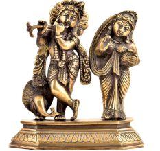 Brass Radha KrishnaHindu Worship Statue