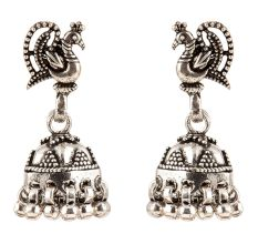 925 Solid Sterling Earring Silver Peacock Jhumkies