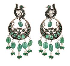 925 Sterling Silver Earrings Ethnic Green Stones Dangle Earrings