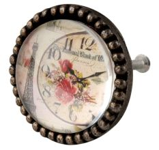 Paris Tower Watch Inside Carte Postale Round Iron Glass Knobs