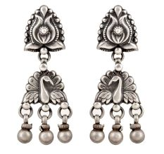 92.5 Sterling Silver Earrings Lotus Flower Stud And Peacock Design