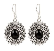 92.5 Sterling Silver Drop Dangle Earrings With Black Stone