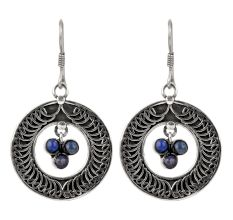 92.5 Sterling Silver Earrings With Lapis Lazuli Statement Earrings