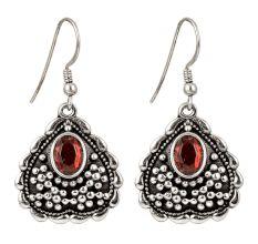 92.5 Sterling Silver Earrings Heart  Red Stone Dangle Earrings