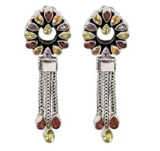92.5 Sterling Silver Tassel Drop Earrings With Colored Stones