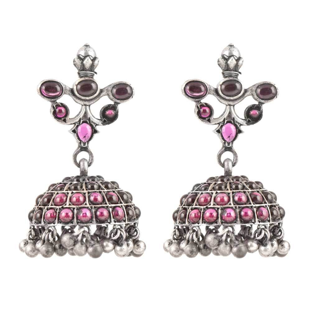925 Sterling Earrings Pink Stones Jhumkies