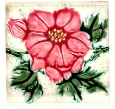 Old Ceramic Tile With  Red Floral Design