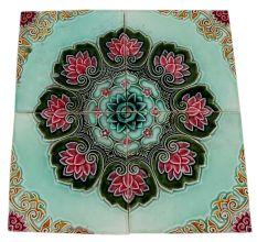 Old Ceramic Tile Green Background Floral Design Tile (Set Of 4)