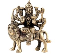Brass Statue Of Mother Goddess Durga Seated on Lion