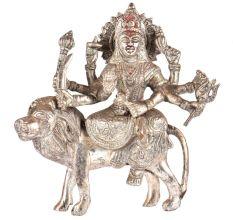 Brass Durga Statue Sherawali Mata With Silver Polish