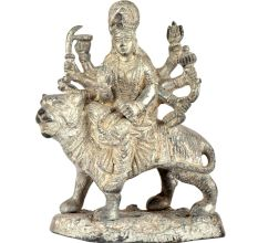 Brass Durga Statue  For Navratri Puja With Silver Finish